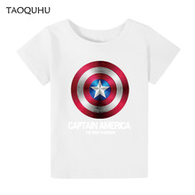 2016 Cotton Boys GirlsT-shirts Captain America Short Children T Shirt 2~8 Y Boy Cartoon Tops Tees Summer Style Kids Clothes - Rouis Rui store