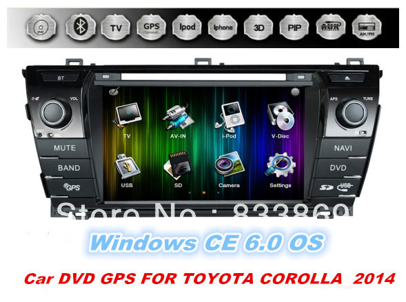 """HD 7 """"2din Windows CE 6.0 OS Car DVD Player GPS Navi for Toyota Corolla 2014 With BT IPOD 3D UI PIP TV Radio/RDS AUX IN USB / SD(China (Mainland))"""