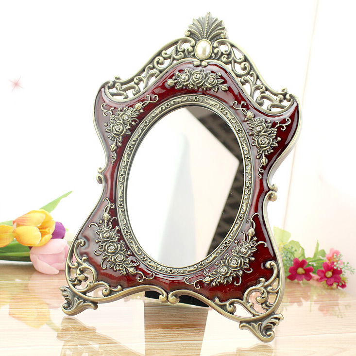 European Bronze Red Rose Accents Tabletop Cosmetic Mirror - Jen's Home Decoration & Gifts Store store