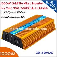 1000W Grid tie micro inverter, 20V-50VDC, 90V-140V or 190V-260VAC, workable for 1200W, 24V, 30V, 36V solar panel or wind system(China (Mainland))