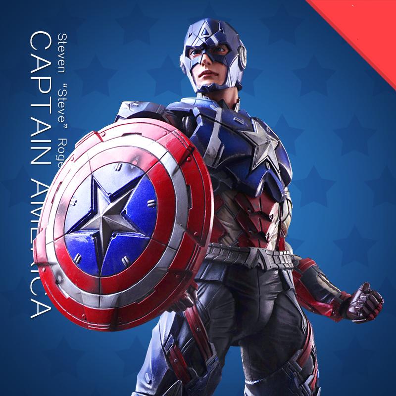 27cm civil war captain american figures PVC Original model toys the Avengers Play Arts Toys with gift box superhero figure toys(China (Mainland))