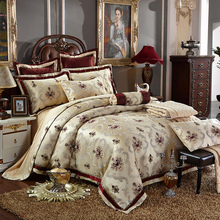 4/6 Pcs Luxury Silk Jacquard Coffee Bedding Sets King/Queen Size Wedding Bedclothes Bedspread duvet Cover /Pillowcases(China (Mainland))