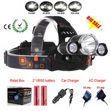 Mejor C-XM-L T6 8000 Lúmenes LED Linterna Del Faro de Caza Caming Lámpara Luz de la Cabeza 4 Modos + 2*18650 Batería + Cargador de CA/Coche(China (Mainland))