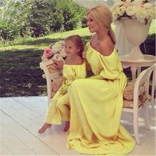 2016 Hot Family Matching Outfits Summer Fashion Bohemian Beach Mother Daughter Dress Chiffon Long Maxi Women And Baby Dress