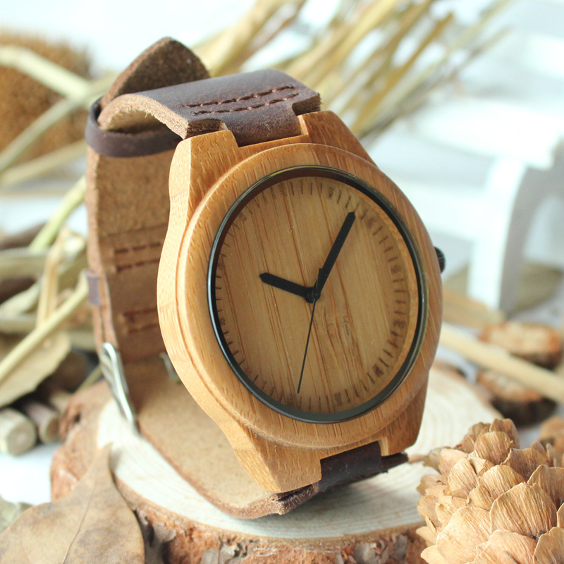 Гаджет  2015 New Arrival Creative Gifts Fashion Bamboo Wooden Watch With Genuine Cowhide Leather Band Casual Watches for Men None Часы