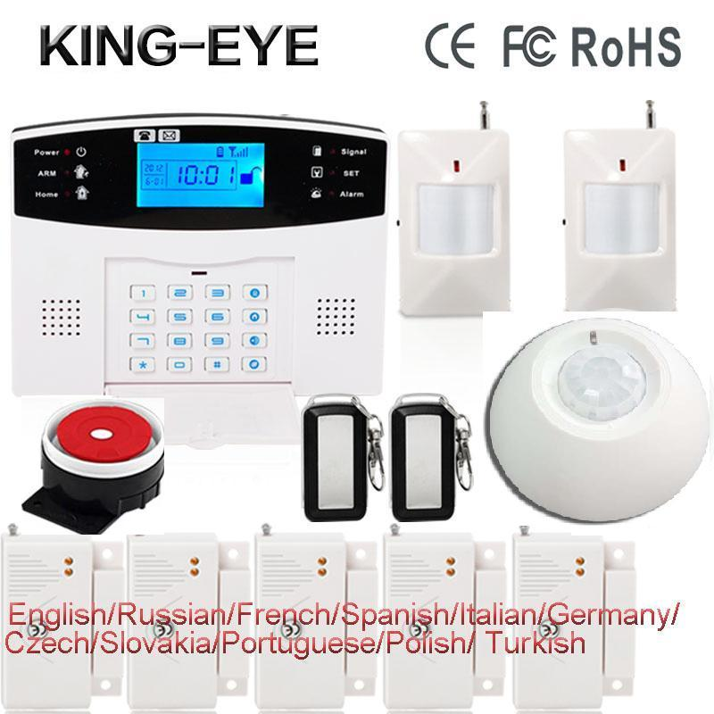 Russian/Polish/French/Spanish voice prompt LCD display sms gsm alarm systems security home roof ceiling infrared sensor(China (Mainland))