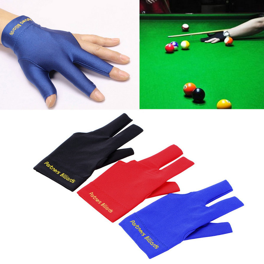 High Quality Spandex Snooker Billiard Cue Glove Pool Left Hand Open Three Finger Accessory Free Shipping(China (Mainland))