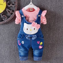 Buy 2016 New Spring Autumn hallo kitty clothes set children outerwear baby girls kids Long sleeve+Denim Overalls 2pc suit cowboy for $13.05 in AliExpress store