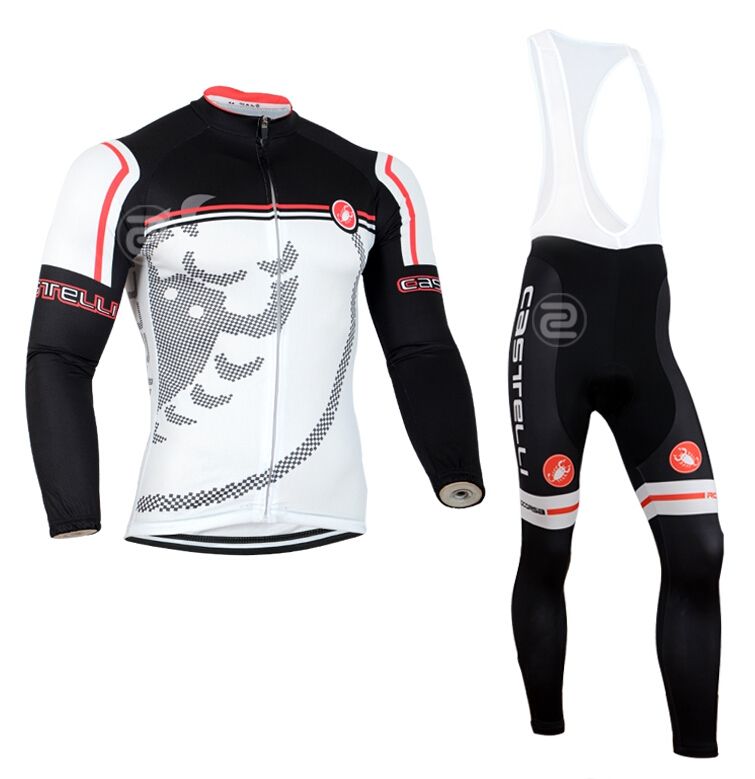 Spring Autumn Long Sleeves Cycling Jersey+Bib Pants / Bicycle Sport Bike+ Sports Sleeve 2015 - Beautiful Jersey store