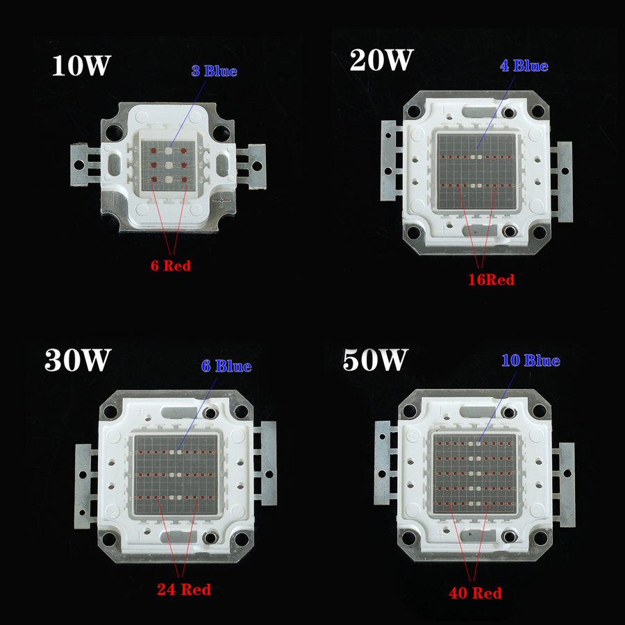 10W/20W/30W/50W LED Grow Lights Led Chip Red 640nm~660nm Blue 440nm~460nm Hydroponics Plants Lamp LED Chips, DIY LED Grow Lights(China (Mainland))