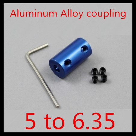 6sets of aluminium alloy coupling 5mm to 6.35mm Shaft Couplings Motor Coupler connector RC Accessories+ hex wrench screws(China (Mainland))