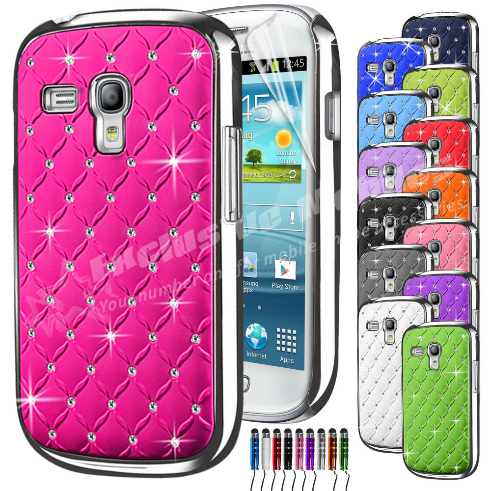 New Diamante Bling Chrome Phone Case & Screen Protector & Stylus Pen For Samsung Galaxy S3 Mini i8190(China (Mainland))