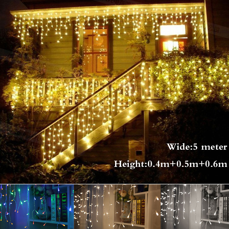 Christmas Outdoor Decoration Indoor 5m Droop 0.4-0.6m Curtain Icicle Led String Lights New Year Garden Party AC 220V(China (Mainland))