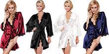 SEXY Lady Satin Nightwear dress Bath Sleepwear Lingerie Night Robe Gown 2015 New