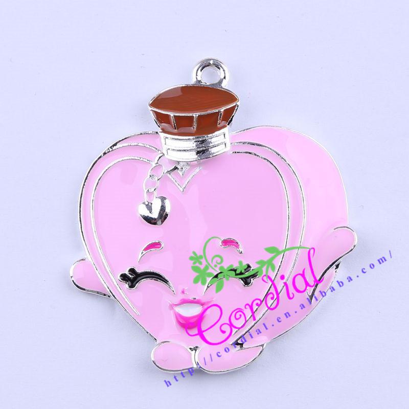 Free Shipping 10pcs/lot Cute Rhinestone Shopping Character Heart Perfume Pendant Necklace Handmade Jewelry # CDRP-503791(China (Mainland))