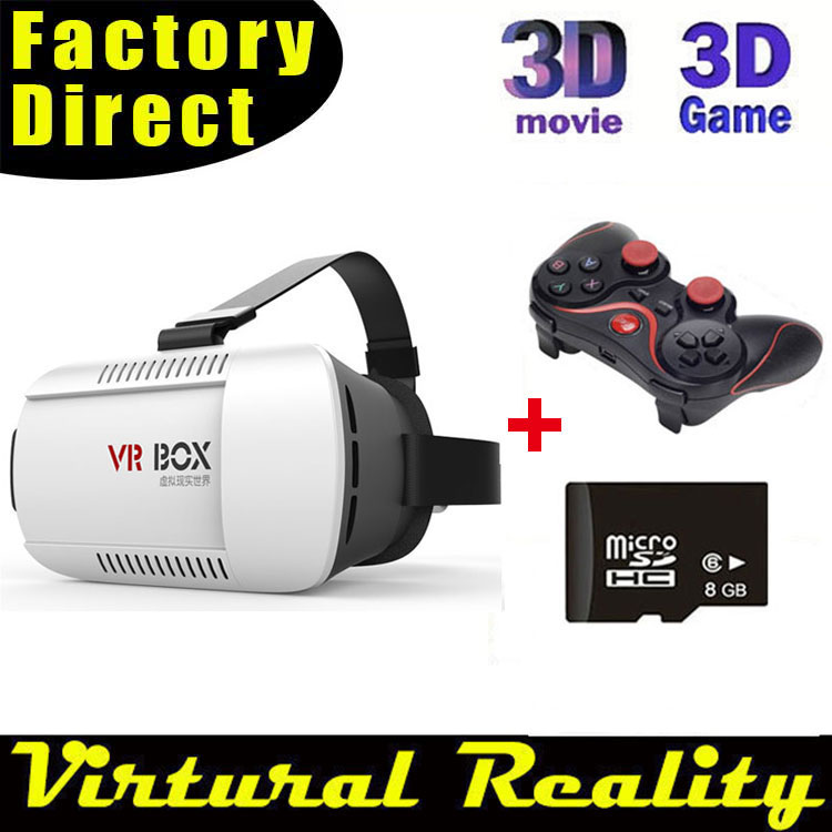 Google cardboard VR BOX Version VR Virtual Reality Glasses + Bluetooth Mouse / Remote Gamepad  + 8GB 3DGames and movies<br><br>Aliexpress