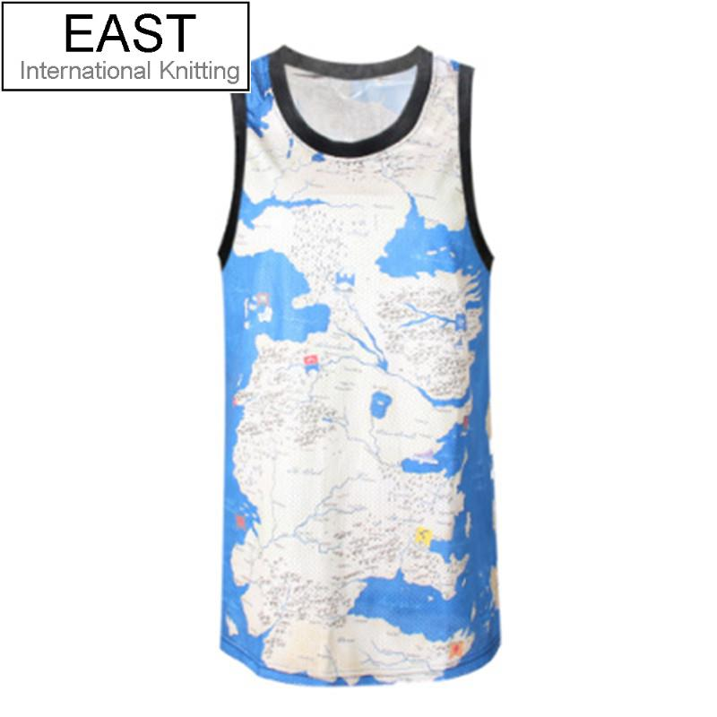 EAST KNITTING F371 Hip Hop Map Of the World Sky Printing T-shirt Vest Men's Summer Cool Basketball Jersey Free Shipping 2015(China (Mainland))