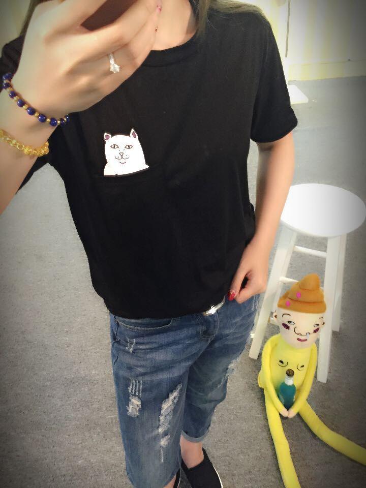 EAST KNITTING YS75 2015 Cat Print Summer Harajuku T shirt Couples All-match Tees Large Size Unisex Tops Dropshipping(China (Mainland))