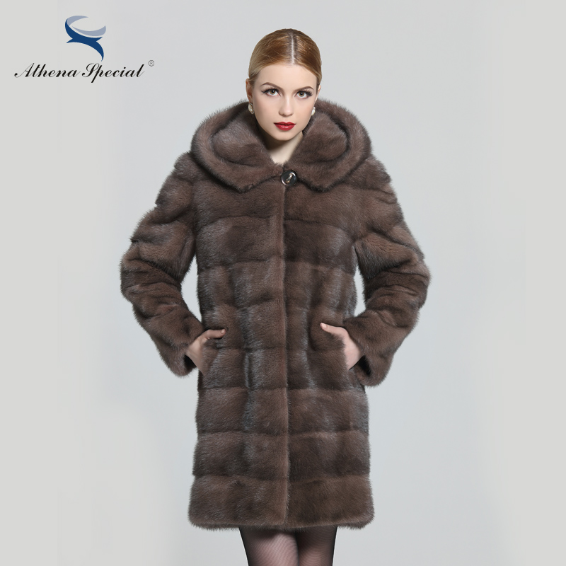 Athena Special Ladies Fashion Rex Genuine Mink Coat, Women's Fur Coat With Hoodie, Detachable Sleeves 2016 Women Real Fur Coat(China (Mainland))