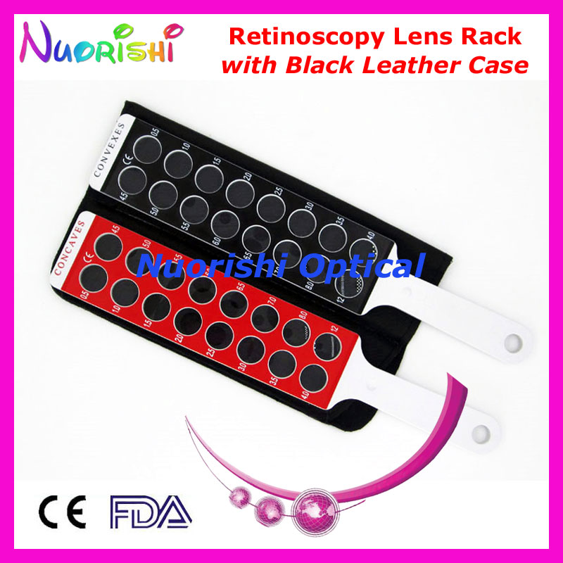 E03-9B Optometry Retinoscopy Board Lens Rack in Solid White Handle Flipper Packed by Black Leather Case Free Shipping(China (Mainland))