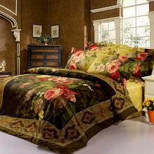 oil painting 4pc bedding set king queen size 3D Duvet/Quilt/comforter cover Luxury bed linen bedspread bedsheet set 100% Cotton(China (Mainland))