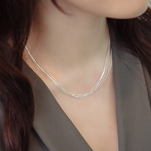 925 Sterling Silver Multilayer Chain Necklace For Women Women Simple Style Prevent Allergy Sterling-silver-jewelry Collier Femme(China (Mainland))