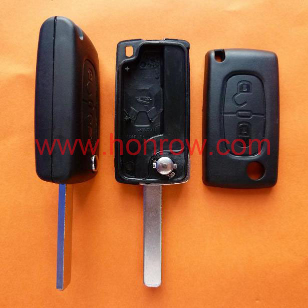 Uncut For Peugeot 307 blade 2 buttons flip remote key shell ( VA2 Blade -  2Button - No battery place ) &Car Keys