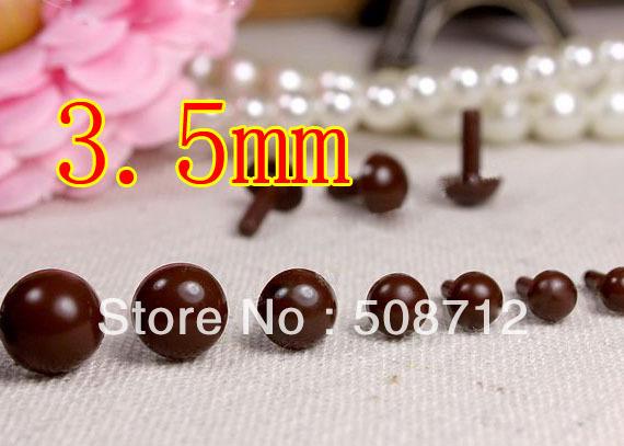 Free shipping!!!!DIY felt toy 300pcs mini 3.5mm brown Plastic Safety Pin Eyes Stuffed Wool Felted Animals Dolls(China (Mainland))