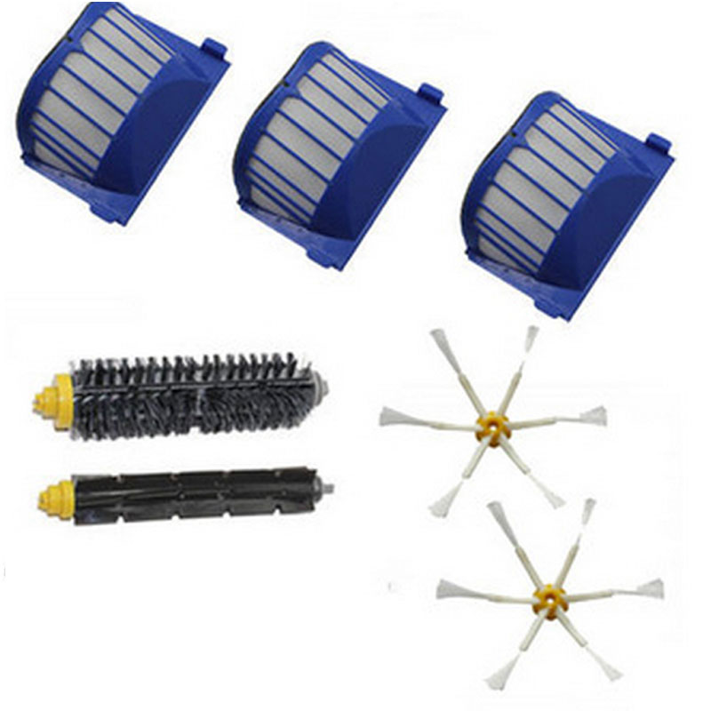 Filter Side Brush 6 armed kit for iRobot Roomba 600 Series 620 625 630 650 660 Vacuum Cleaner Parts(China (Mainland))