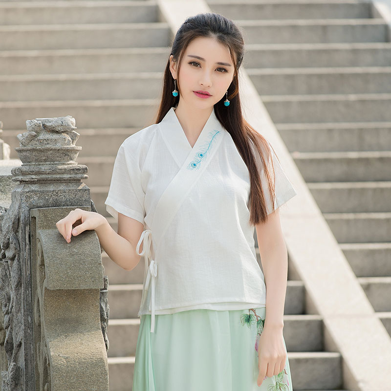 Photograph costumes 2016 women summer ethnic traditional v neck surplice white blouse shirt TOP buy direct from china store(China (Mainland))