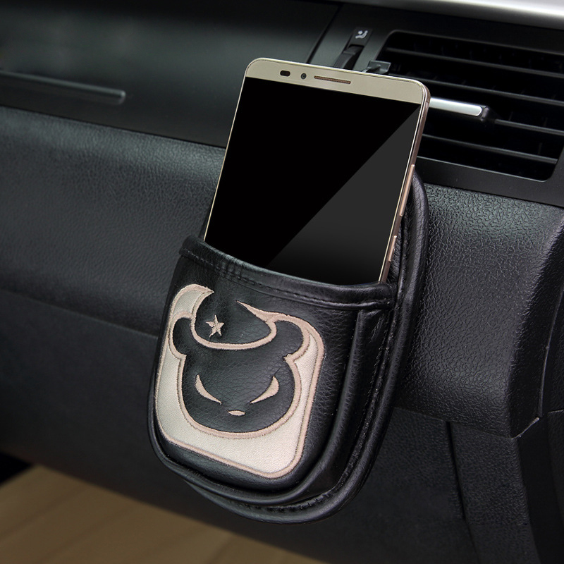 Original Brand Car Air Vent Phone Holder Cell Phone Bag PU Leather Embroidery Car Holder Car Styling Mobile Phone Holder Pocket(China (Mainland))