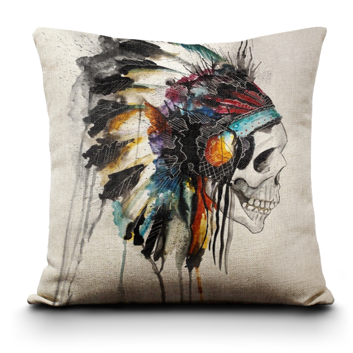 2014 new Free Shipping Printing Cushion Cover Watercolor Skull Headdress Pillow Cover Sofa Cover Decorative Pillows Wholesale(China (Mainland))