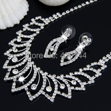 2Set/Lot Silver Plated Crystal Rhinestone Necklace Chain + Dangle Stud Earrings Set Lady(China (Mainland))