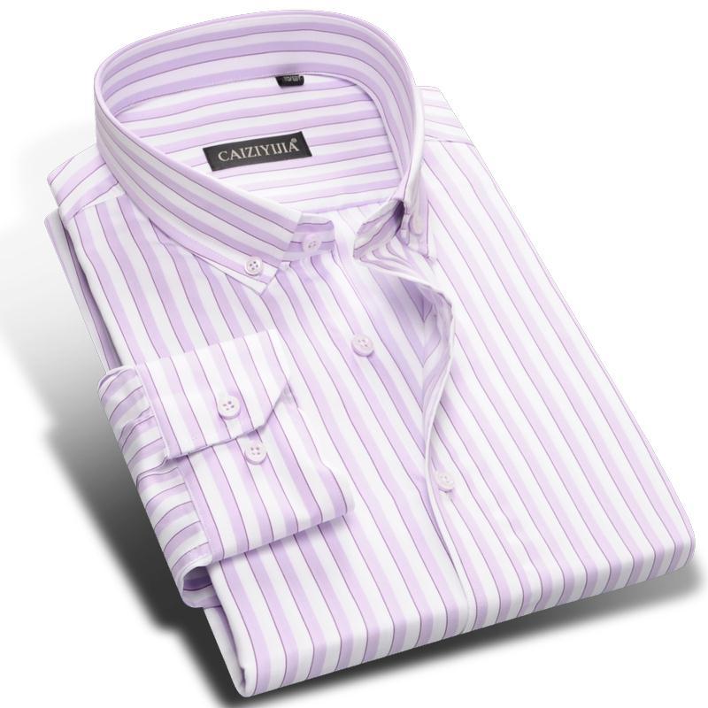 Pure Cotton Fashion Striped Men Dress Shirts Brand High Quality Long Sleeve Formal Business Blue Pink Purple Male Casual Shirt(China (Mainland))