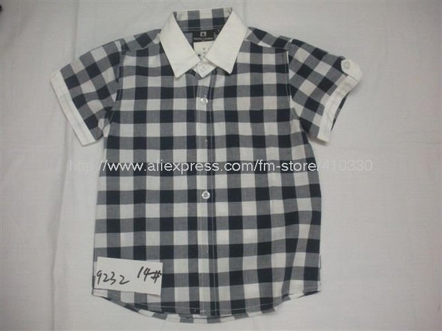 Wholesale summer children's popular T-shirt / the most stylish children plaid trim T shirt / boy favorite shirts and T-shirts