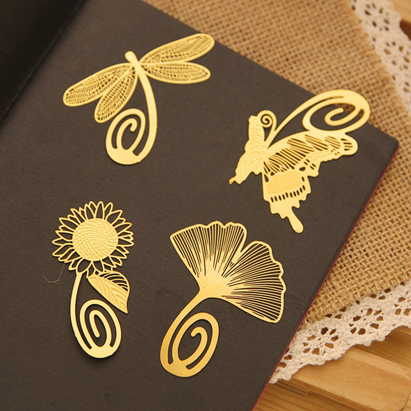 2015 new fashion plant cutout blade butterfly dragonfly metal bookmark vintage gift box packing 4pcs/lot(China (Mainland))