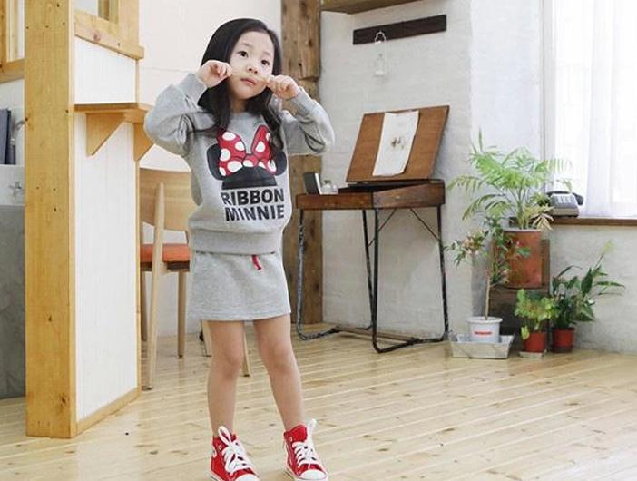 New autumn baby girl suit gray pink long sleeve minnie tops + straight skirt 2pcs set kids girls casual clothing set 5set/lot<br><br>Aliexpress