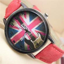 LZ Jewelry Hut DK05 2014 New Jeans Style Brand Design Denim Strap Vintage England Flag Quartz Print Antique Watch