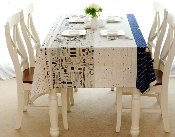 High Quality 100% Linen Countryside pattern Square home hotel table cover table cloth 140cm*220cm large size multi sizes(China (Mainland))