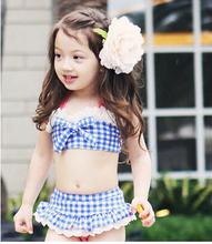 Children Swimming Clothing Set Baby Girls Cute Plaid 2 Pieces Bikini Swimsuit With Swimming Hat Kids Swimwear Clothing 2 Colors