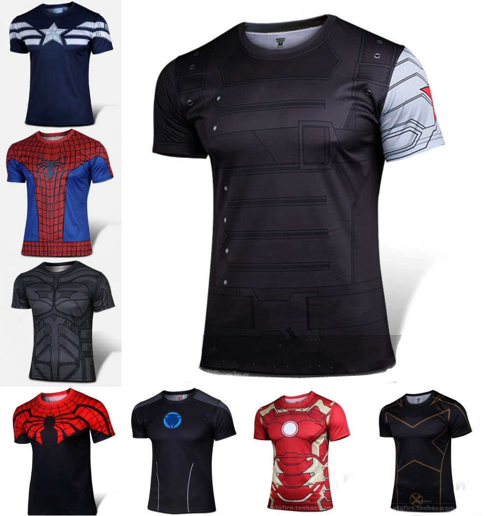 Гаджет  Batman Spiderman Venom Ironman Superman Captain America Winter soldier Marvel T shirt Avengers Costume DC Comics Superhero mens None Одежда и аксессуары