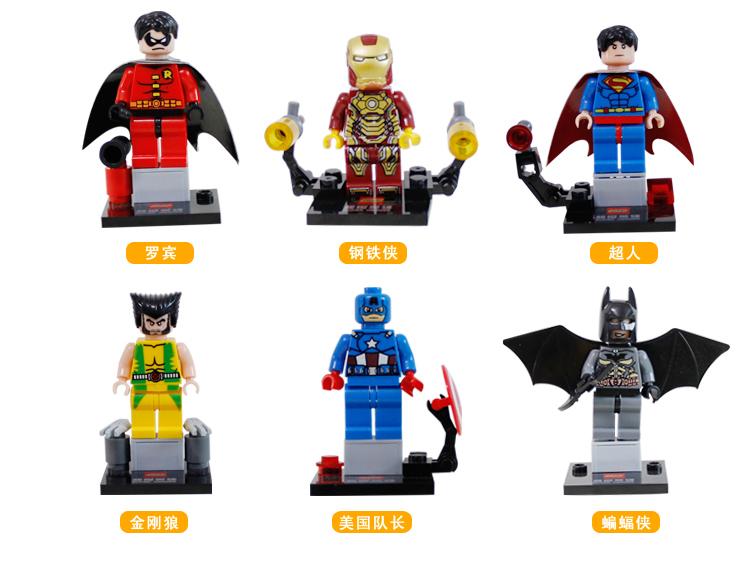 JX 6PCS Super Heroes Minifigures Building Blocks Sets Toys Ironman Superman Figures DIY Aseembling Bricks Compatible Legoelied <br><br>Aliexpress