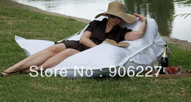 The original !!  outdoor buggle up white bean bag chair, waterproof strong beanbag recliner , garden sofa chair -