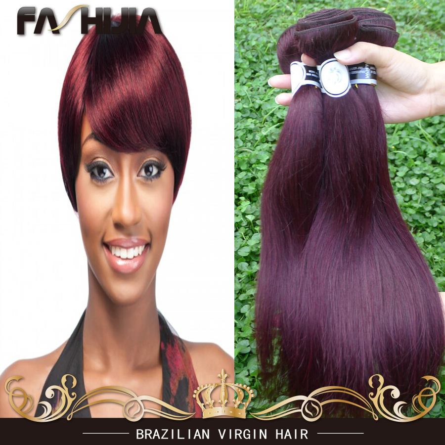 Brazilian Hair Weave Bundles 99J Red Color Burgundy Human Hair Extension 8A Grade Unprocessed Brazilian Virgin Hair Straight<br><br>Aliexpress