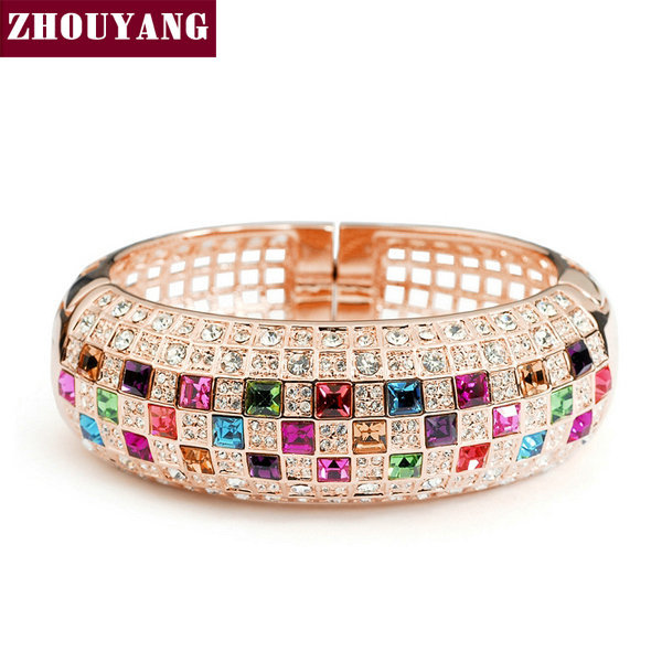 Top Qulaity Multicolour Crystal  Rose Gold Plated Bangle Jewelry Made with Genuine  Austrian Crystals Wholesale ZYB003 ZYB002