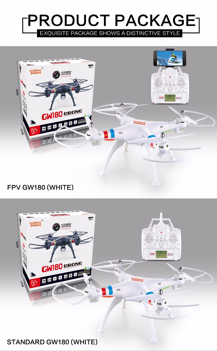 Global Drone GW180 RC Quadcopter Professional Drone Rc Drones Can Come with 2.0MP HD Camera,FPV 2.0MP Camera RC Drones VS X8