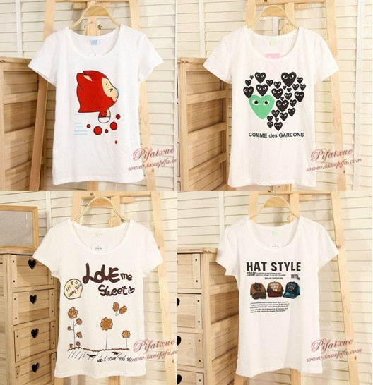 2013 Low Price  pure cotton printed girl's short sleeve T-shirt.FREE SIZE !