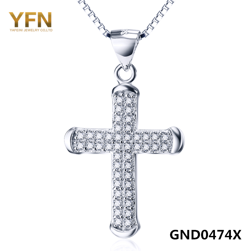 GND0474 Newest Cubic Zirconia Cross Pendant 925 Sterling Silver Fashion Necklace For Women Or Man Wholesale(China (Mainland))