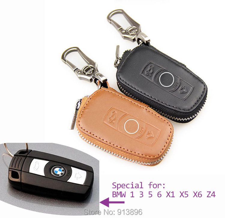 Leather Car Key Fob Cover For Bmw Series 1 3 5 6 X1 X5 X6