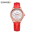 Comtex Leather watch strap Women Watch Luxury Brand Quality Quartz Watch Waterproof Wristtwatch Good Christmas Gifts